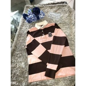 Tommy Hilfiger Striped Polo brown and pink